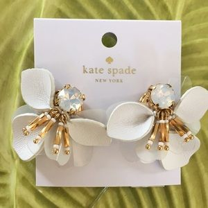 Kate Spade Vibrant Life  white leather earrings